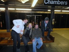 Me and my buds in NYC, waiting for a train. There was a lot of waiting for trains, and riding trains, while I lived there!
